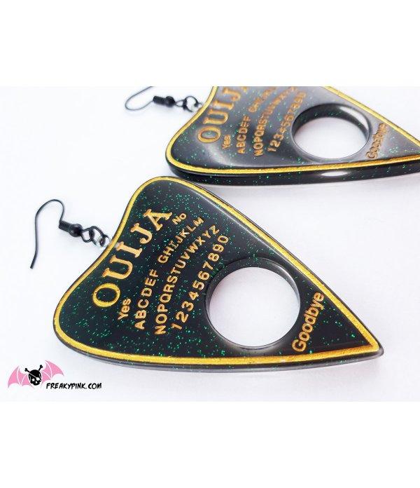 Boucles D'oreilles Ouija Bord Noires et Or