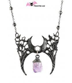 Collier Croissant de Lune et Cristal Violet