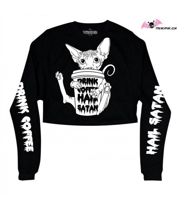 Cropped Sweater Drink Coffee, Hail Satan