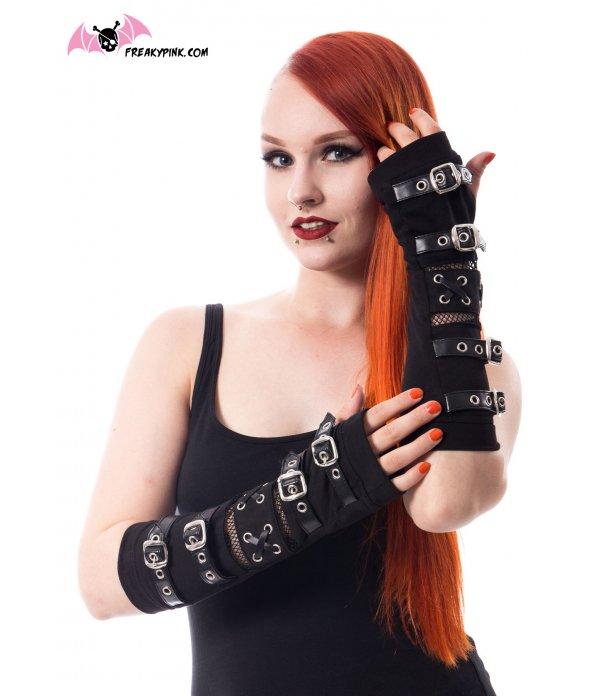 Arm warmers gothiques noirs résilles