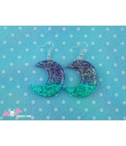 Boucles D'oreilles Lunes Glitter Bleu Violet