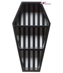Black and white striped coffin shelf