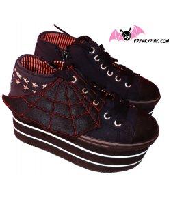 Ailes Pour Chaussures Spider Web Noires et Rouges