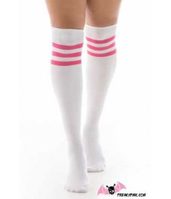 Chaussettes hautes blanches rayures roses