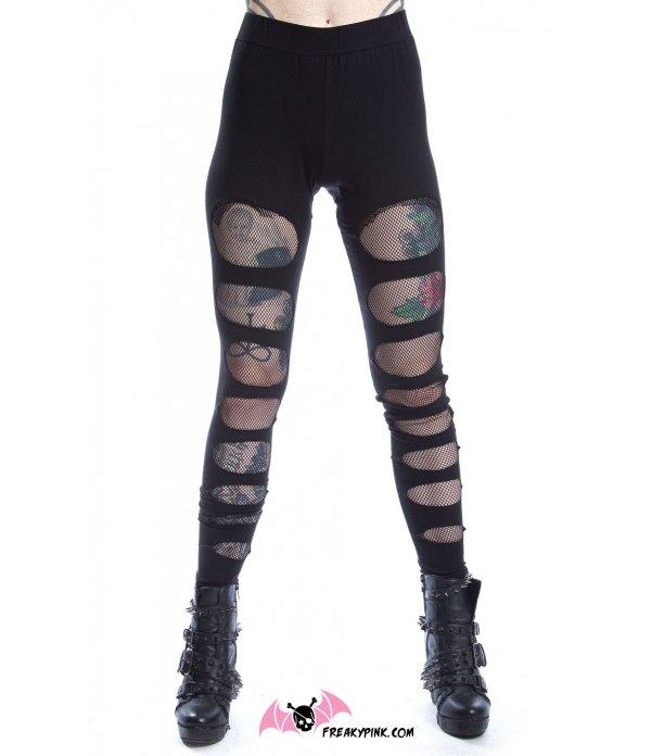 Legging Goth Découpes Résille