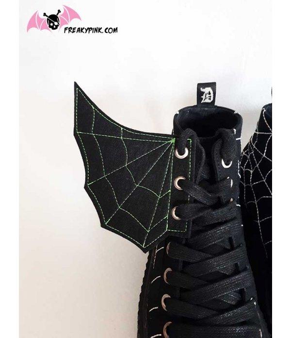 Ailes Pour Chaussures Spider Web Vertes Et Noires