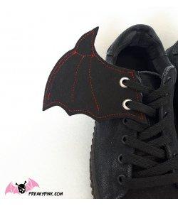 Ailes Pour Chaussures Chauve-Souris Noires et Rouges