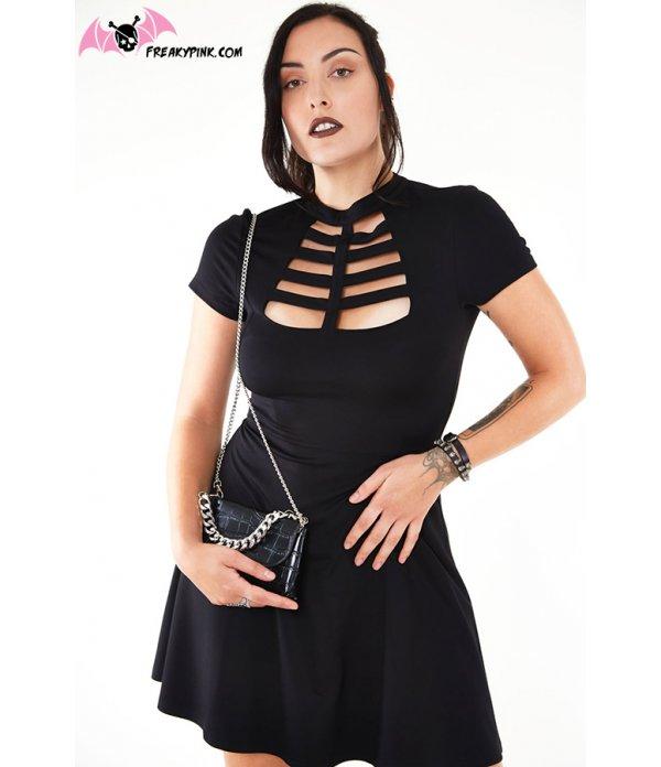 Robe Caged Noire Soft Goth