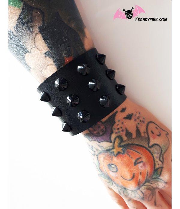 Bracelet De Force Noir 3 Rangées de Clous