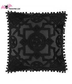 Housse de coussin gothique pentagrammes noires