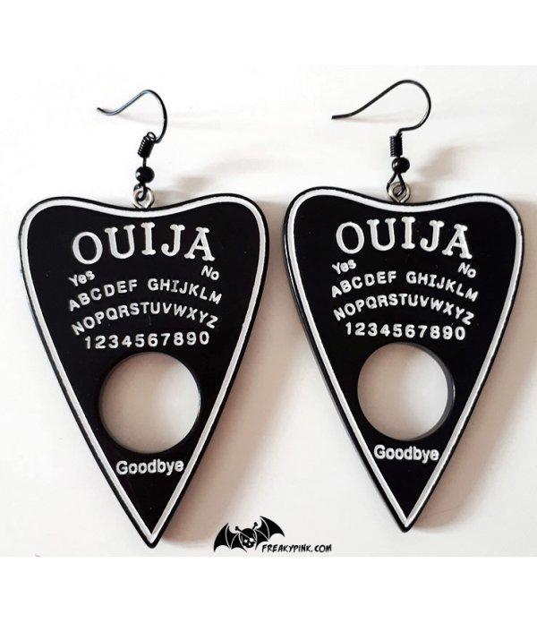 Boucles D'oreilles Ouija Bord à Paillettes Noires et Blanches