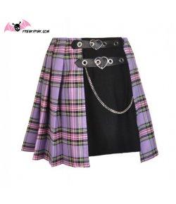 Jupe écossaise punk violette et noire