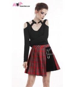 Jupe écossaise punk rouge et noire