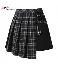 Jupe écossaise punk grise et noire