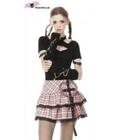 Jupe à carreaux gothique lolita rose